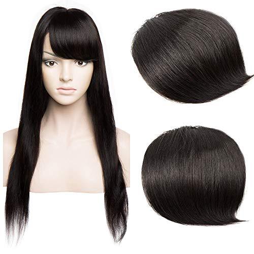 Frangia Laterale Clip Capelli Veri Neri Remy Human Hair Frangetta Bangs Fringe Naturale Invisibile Estensioni per Capelli Donna Bellezza, 1B Nero Naturale