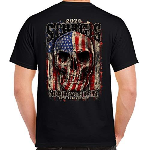 Biker Life Clothing 2020 Sturgis Motorcycle Rally Skull Flag T-Shirt Black