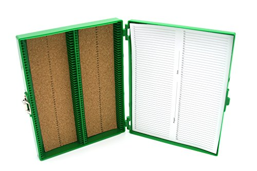 Heathrow Scientific HD15994B Green Cork Lined 100 Place Microscope Slide Box, 8.25' Length x 7' Width x 1.3' Height