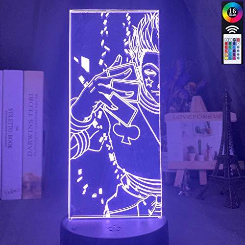 Lámpara de ilusión 3D Luz de noche Led que cambia de color acrílico para decoración de habitación de niños Anime Hunter X Regalos de vacaciones de cumpleaños para niños