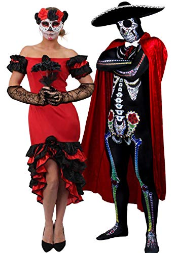 """Ilovefancydress - Costume da Halloween per coppia, ideale anche per celebrare la festa messicana del """"Dia de los muertos"""": costume da uomo con scheletro e teschio stampati. mantello in velluto e sombrero, per donna abito con velo e maschera con dettagli in rosso, disponibili nelle taglie dalla S alla XL"""