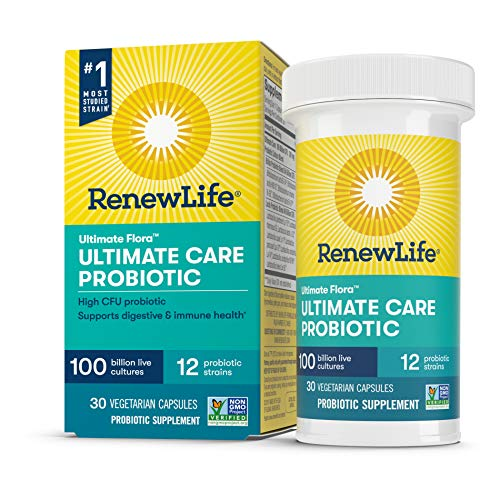 Renew Life Adult Probiotic - Ultimate Flora Ultimate Care Probiotic Supplement - Gluten, Dairy & Soy Free - 100 Billion CFU - 30 Vegetarian Capsules