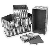 Navaris Juego de 6 Cajas de almacenaje - Organizador de cajones - Cajas de almacenaje Plegables en Diferentes tamaños - para Ropa, Juguetes, pañales