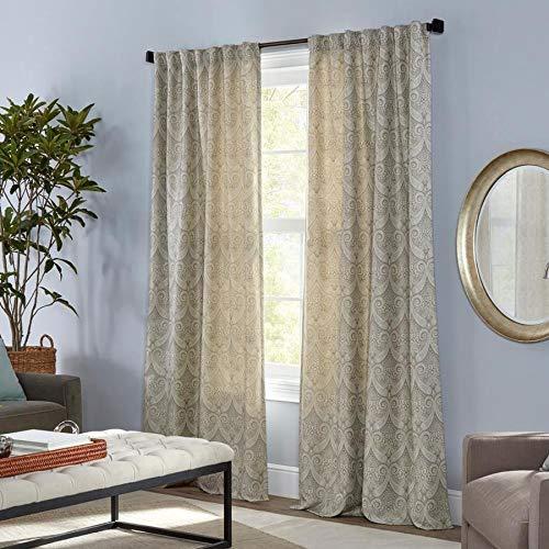 allen + roth Raja 84-in Linen Polyester Light Filtering Standard Lined Single Curtain Panel