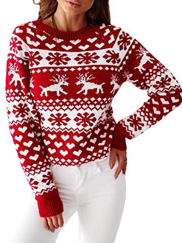 Anna-Kaci - Maglione natalizio da donna, a maniche lunghe, motivo fiocchi di neve, con renna - rosso - L