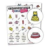Typographus - 68 kindgerechte Aufkleber für Kleidung - Für Kleiderschränke, Boxen & Möbel - Sorgen für Ordnung im Kinderzimmer   Mädchen   Ordnungssticker