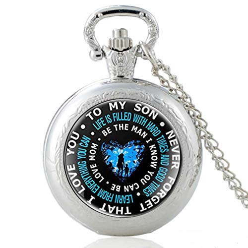 ZDANG To My Son-Never Forget That I Love You Black Glass Cabochon Vintage Quartz Pocket Watch Pendant Hours Clock Gifts a good gift