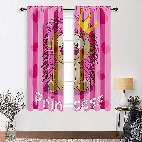 Blackout Window Curtain Adorable Crowned Princess Hedgehog with Hearts Cartoon Characters Image Print Sliding Glass Door Drapes for Living, Dining, Bedroom (2 Pieces, 27.5 inches Wide Each Panel)