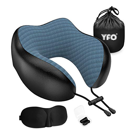 2020 Updated 100% Pure Memory Foam Breathable & Comfortable Travel Pillow, Luxury Leather Neck Pillow with 3D Eye Mask, Earplugs, and Portable Bag, 360 Degree Head Support for Airplanes Travel (Black)