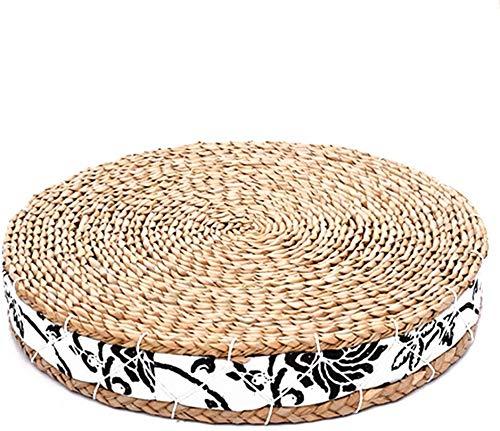 WUKONG99 - Cojín de suelo japonés de tatami Zafu, asiento natural, almohada de meditación, esterilla de yoga, hecha a mano, ecológica, transpirable, cojín de punto de paja para zen, yoga y meditación