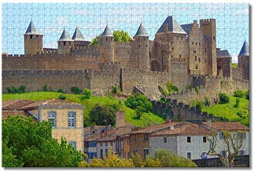 qingyuge Castillo francés Carcassonne-1000 Piezas niños Adultos Intelectual de descompresión Difícil y Desafiante Decoración Hogar Juguete-50cmx75cm