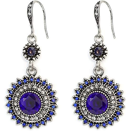 Pendientes Colgantes De Girasol Bohemio Aretes Colgantes De Diamantes De Imitación Nacionales Joyas Pendientes De Piedras Preciosas Vintage Blue
