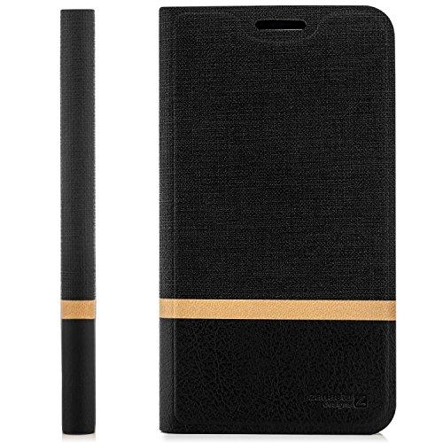 zanasta Tasche kompatibel mit HTC 10 EVO Hülle Flip Hülle Schutzhülle Handytasche mit Kartenfach Schwarz