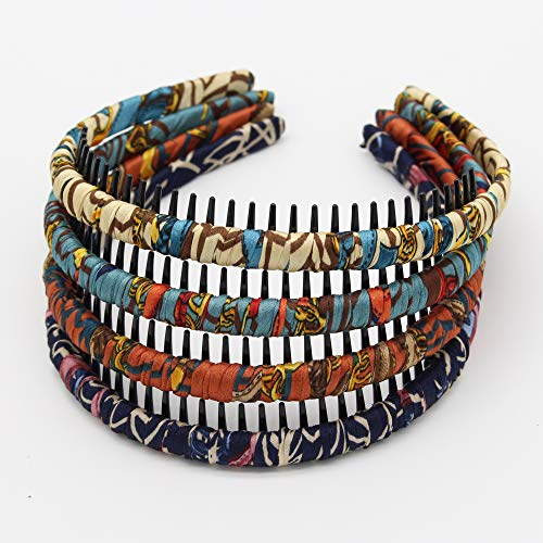 JOBAND boho bandeau headbands hairband for women Non-slip hair bands Teeth Comb Hair Accessories Resin hair hoop (4 pcs)