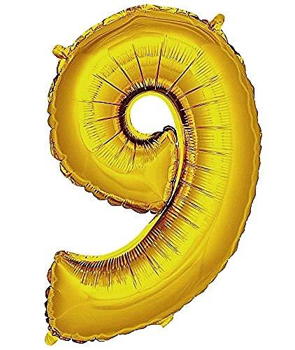 Ballonleeftijd - ballon - nummer 9 - hoogte 100cm - goudkleur - verjaardag - nieuwjaar - feest - decoraties - gevierd