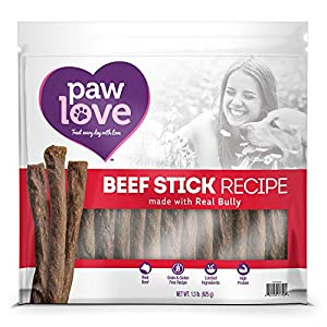 PawLove Treats Quick and Crunchy Gourmet Beef Stick Recipe Dog Snacks – Light and Airy Chew – Rich in Delicious Beef Flavor – Healthy Grain Free, High Protein Chew – Small Dog Size – (1.3 lb. Bag)