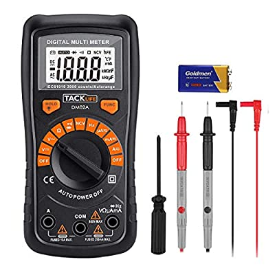 TACKLIFE Digital Multimeter 2000 Counts Auto-Ranging Digital Multimeters, Multi Test AC/DC Voltage, AC/DC Current, Resistance, Frequency, Diodes, Continuity Tester, NCV, Backlit