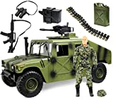 """Click N' Play Military Jumbo 12"""" Long Humvee Vehicle Action Figure Play Set with Accessories  (CNP30558-)"""