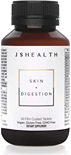 JSHealth Vitamins Skin and Digestion Formula | Skin Supplement with Zinc | Burdock Turmeric | Clear Healthy Skin | Acne Treatment for Teens and Adults | (60 Tablets)
