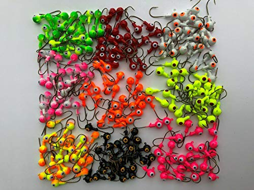 Rudder Lures Pro 25 PCs 3/16 1/4 oz Lead Jig Heads Double Eye Sharp Hook Bass Bait Fishing (10 of Each Color(Total 90 Pcs), 1/4 OZ)
