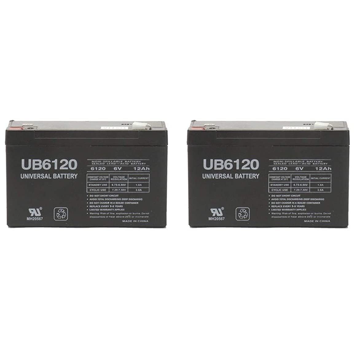 6V 12AH F2 BATTERY Replaces POWER-SONIC PS-6100F2 6V,12AH,F2,EACH - 2 Pack