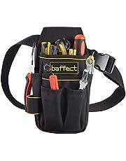 Baffect - Bolsa de herramientas de lona con cinturón de nailon ajustable, resistente y profesional, para electricistas, técnicos, color negro
