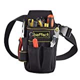 Baffect Canvas Tool Pocket Pouch Belt Small Pocket Tool bag With Adjustable Nylon Belt Heavy Duty Professional Waist Work pouch for Electricians Technician-Black