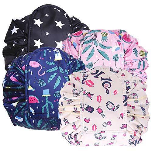 ANDERK 4 Pack New Lazy Drawstring Makeup Bags Large Travel Capacity Waterproof Portable Fashion Drawstring Cosmetic Bag