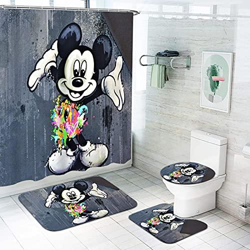 Fgolphd Disney Mickey Mouse Duschvorhang, Disney Minnie Mouse Shower Curtains Badezimmerteppich 4-teiliges Set Wasserdicht 180x180 180x200 (180 * 200,18)