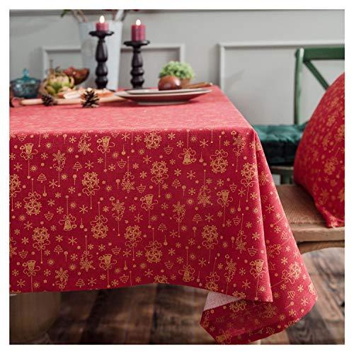 nobrand kerst brons tafelkleed gedrukt katoen en linnen feestelijk tafelkleed afdektoek Stain Dust Proof Cloth decoratief tafelkleed (kleur: rood, maat: 140 * 300cm)