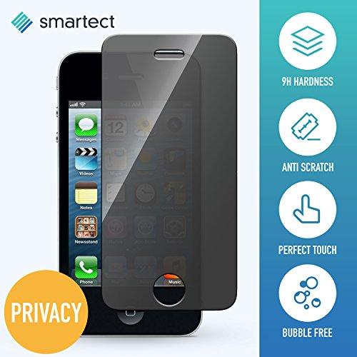 smartect Privacy Panzerglas kompatibel mit Apple iPhone 4 / 4s mit Blickschutz [PRIVACY] - Displayschutz mit 9H Härte - Anti-Spy Blickschutzfolie mit Sichtschutz Filter - Blasenfrei