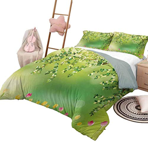 Tulip Hotel Luxury Bed Sets Tulips with Colored Petals Under Tree Branch in The Park Vivid Dreamy Blooms Artsy Work Boys Duvet Cover Set Multi with 2 Pillow Shams, King Size