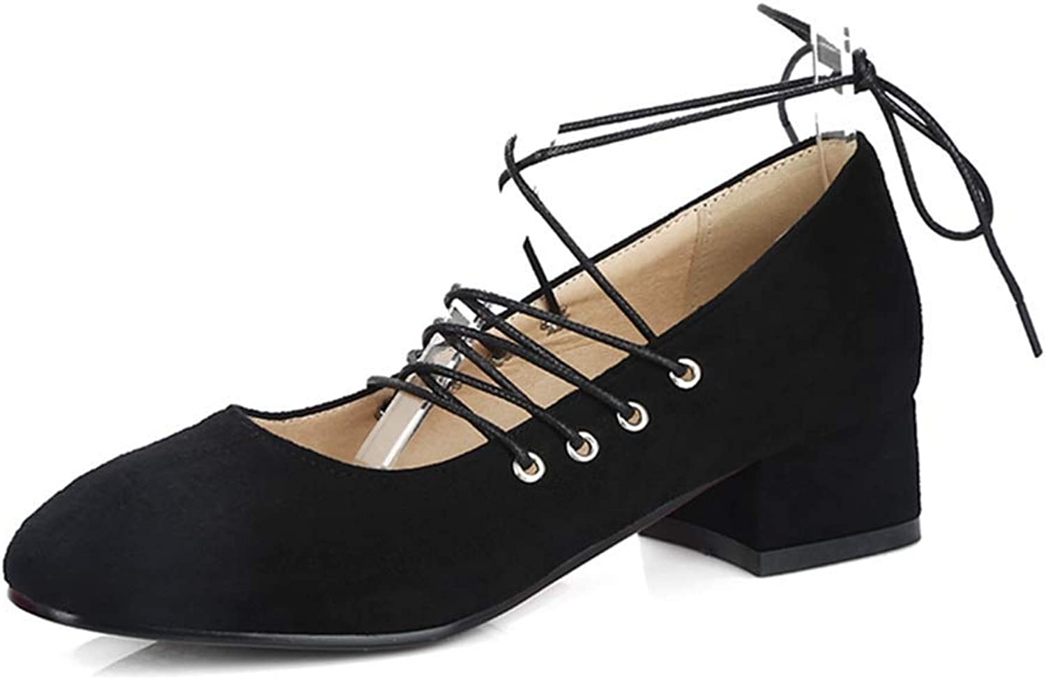 Beautiful - Fashion Women's Mary Jane Lace Up Oxford Pump Square Toe Suede Low Heel Retro Uniform Fall Dress Loafer shoes