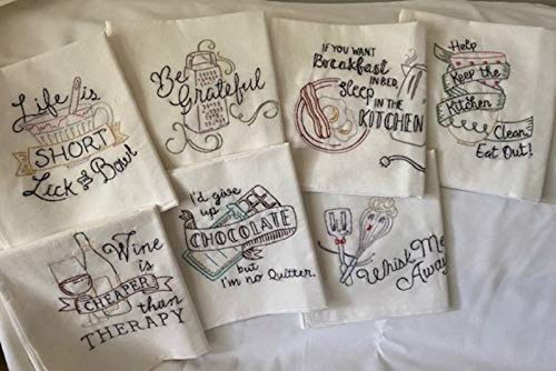 Funny Sayings in the Max 78% OFF Kitchen Bombing free shipping set 7 T-towel Embroidered Hand