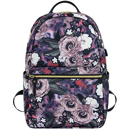 KROSER Damen Rucksack für Schule Frauen Laptop Rucksack 15,6 Zoll(39,6cm) Schulrucksack Stylischer Mädchen Teenager wasserdichte mit USB-Ladebuchse für Reisen/Arbeit Blume MEHRWEG