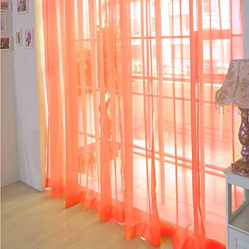 Hunpta @ Voile Vorhang mit Tunneldurchzug Einfach Einfarbig Transparent Gardine Wohnzimmer Schlafzimmer Fenstervorhang Fenster Dekor, 200 x 80cm, 1 Stück