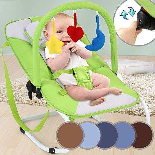 Tumbona para bebé con arco, inclinable, sistema de bloqueo, cinturón de seguridad, asas de transporte, color verde/blanco – Silla mecedora para bebés, columpio con juguetes