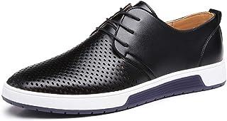ANTAZ Chaussures de Loisirs Pointues Oxford Respirantes pour Hommes en été résistant à l'usure Blanc Cravate Rouge résista...