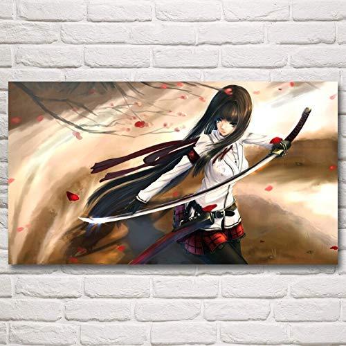 wZUN Fairy Tail Katana Girl Japanische Anime Kunst Poster und Drucke Gemälde Wohnzimmer Dekoration Bild 50x70cm