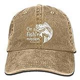 AINCIY Misión de Pesca Sombrero de Mezclilla de algodón Ajustable Unisex Lavado Sombrero de Gimnasia Retro Sombrero Sombrero