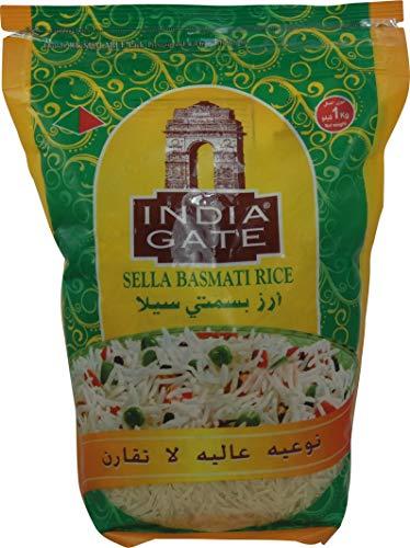 INDIA GATE Sella Basmati Rice, parboiled (aus Indien, feines Langkorn) aromatisch, Vorratspackung - 1er Pack (1 x 1 kg)