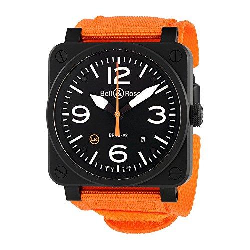 Bell y Ross Aviación Automático Negro Dial Reloj para Hombre BR0392-O-CA