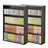 山善(YAMAZEN) (2個組)マンガぴったり本棚カラーボックス CDCR-9060(BK) ブラック