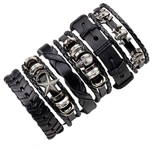 ZUOZUO Lederarmband Vintage Multilayer Lederarmband Set Herren Und Damen Charm Wolfs Stirnband Armband