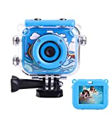 TECHKUN Kids Digital Camera, Kids Action Camera,Kid's Camera with Waterproof Case Can Take Pictures and Photography Underwater, with 8G SD Card, for 4-12th Boys Christmas/Birthday Gift-Blue