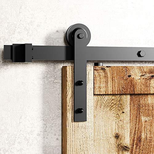 Homacer Black Rustic Non-Bypass Sliding Barn Door Hardware Kit, for One/Single Door, 6ft Long Flat Track, Straight Design Roller, Heavy Duty, for Interior & Exterior Use