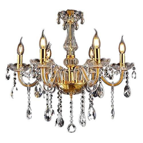HONGLONG Kristall Kronleuchter Klassisch Hängeleuchte Golden Pendelleuchte Deckenleuchte Antik Messing Kristall Lüster 6-Flammig (6 Lichter)