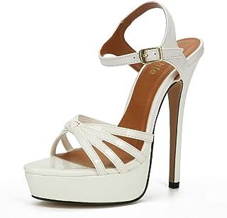 Chaussures Femme Sandales Mariage Talon Aiguille Escarpin Plateforme Epais Fermature Bride Cheville Sexy Soirée