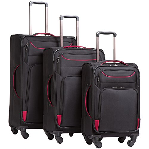 Coolife Luggage 3 Piece Set Suitcase Spinner Softshell lightweight (black+red)