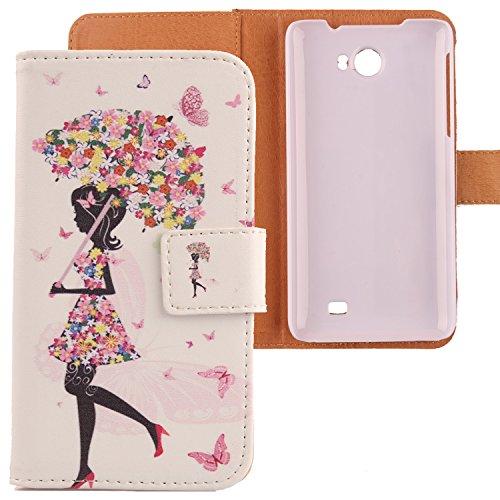 Lankashi PU Flip Leder Tasche Hülle Hülle Cover Schutz Handy Etui Skin Für Kazam Trooper 2 5.0 Umbrella Girl Design